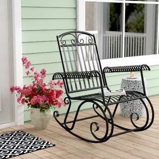 Nocona Iron Outdoor Porch Rocking Chair by Fleur De Lis Living