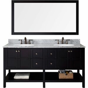 kuiper 709 double bathroom vanity set with white carrara top and mirror