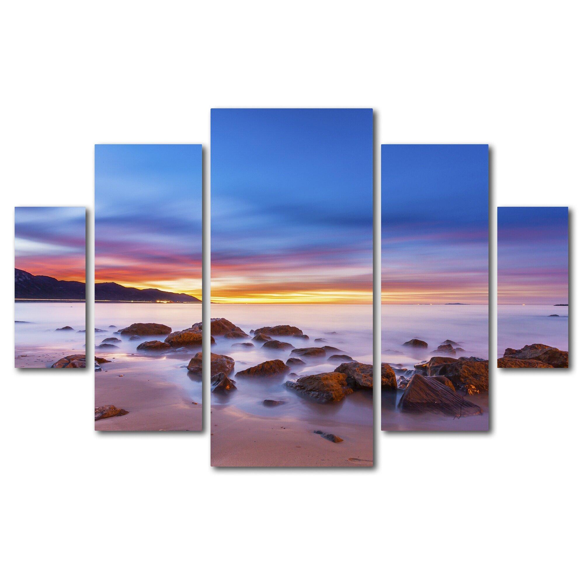 Trademark Art Mussel Shoals Morning 5 Piece Photographic Print Set On Wrapped Canvas Wayfair