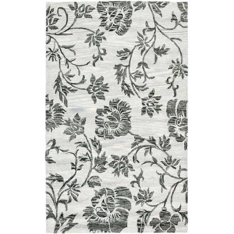 Alcott Hill Marcello Hand-Tufted Wool Grey/Black Area Rug, Size: Rectangle 76 x 96