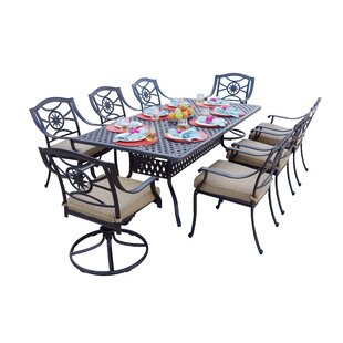 Alcott Hill Thompsontown Traditional 9 Piece Dining Set with Cushions