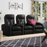 3 Seats Leather Home Theater Sofa (Set of 3)