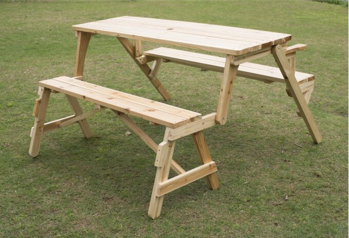 outsunny convertible table and picnic bench & reviews | wayfair