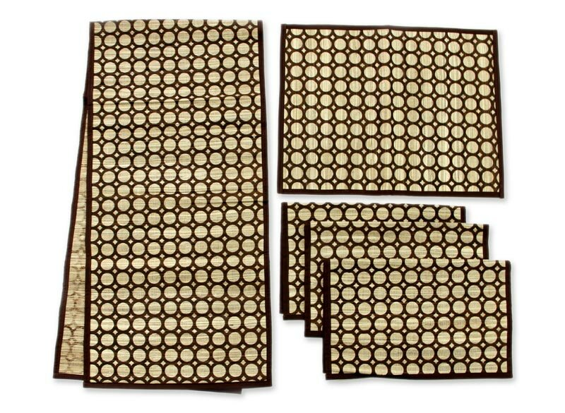 Novica 5 Piece Bamboo Reed Table Runner And Placemat Set Wayfair