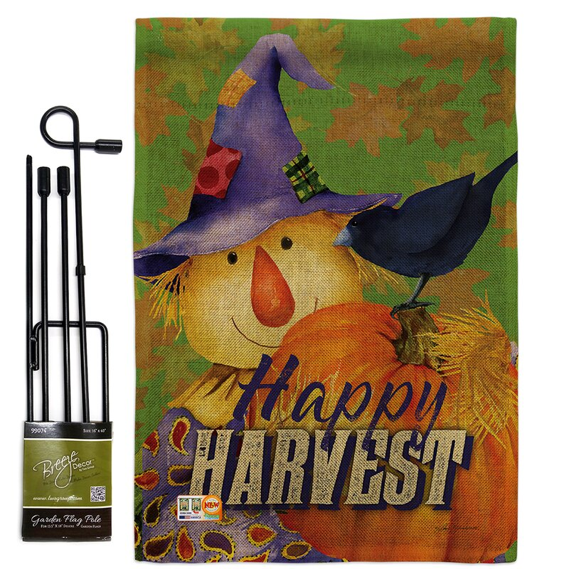Breeze Decor Happy Harvest Scarecrow Fall And Autumn Impressions 2 Sided Polyester 19 X 13 In Flag Set Wayfair