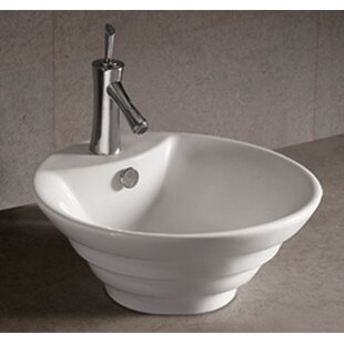 Look for Isabella Ceramic Circular Vessel Bathroom Sink with Overflow ByWhitehaus Collection
