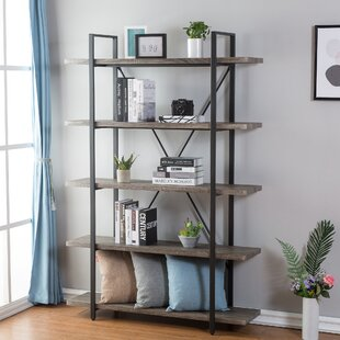 Nordheim 5-Shelf Industrial And Rustic Etagere Bookcase by Gracie Oaks Design