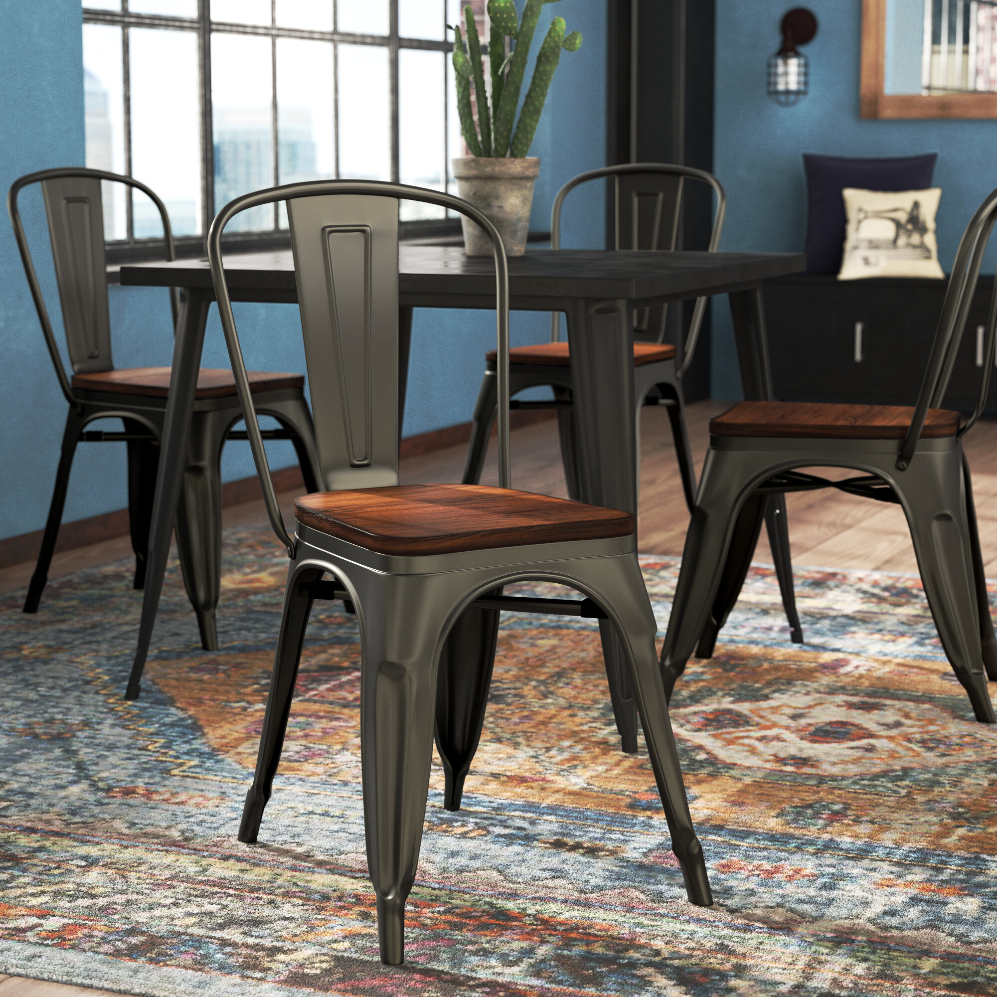 Williston Forge Mattox Slat Back Stacking Side Chair In Gray Reviews Wayfair