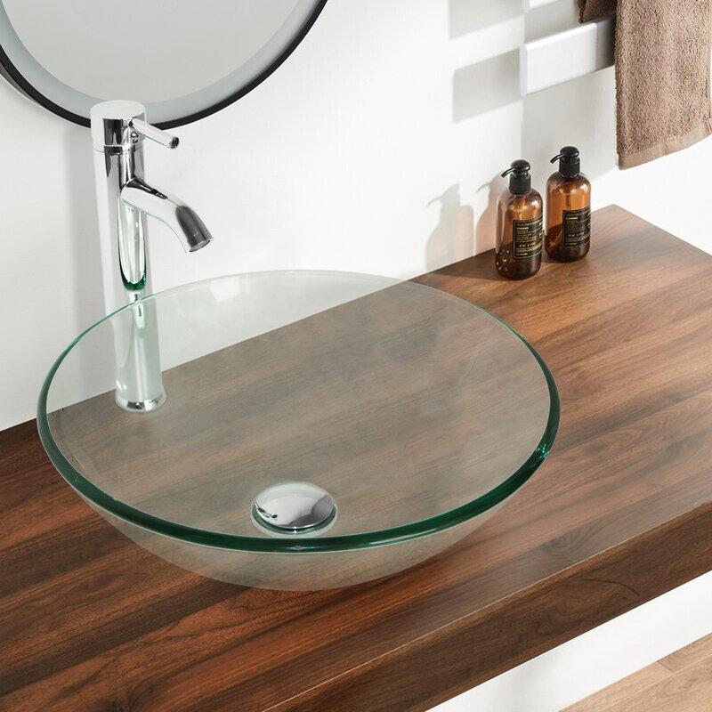 Flanna Tall Transparent Glass Circular Console Bathroom Sink With Fauce Wayfair