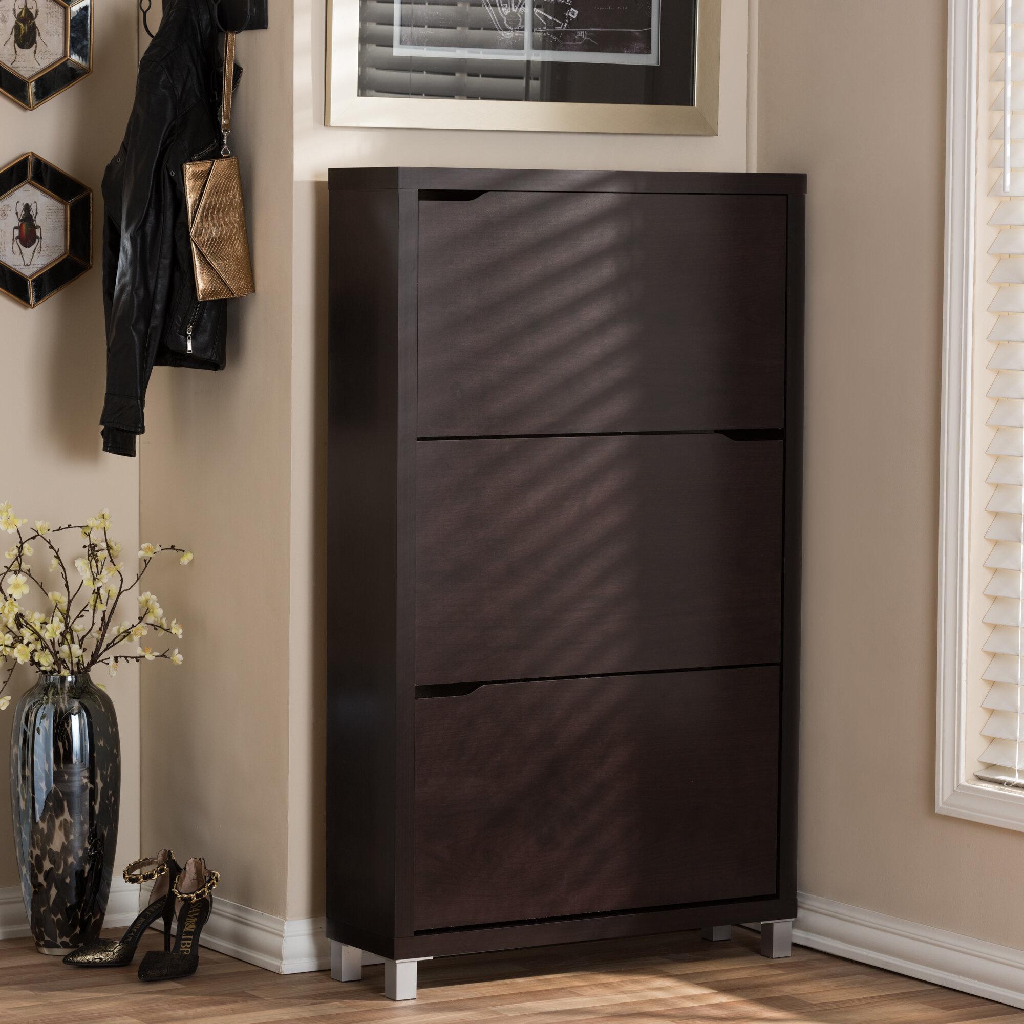 Latitude Run 18 Pair Wood Shoe Storage Cabinet U0026 Reviews | Wayfair