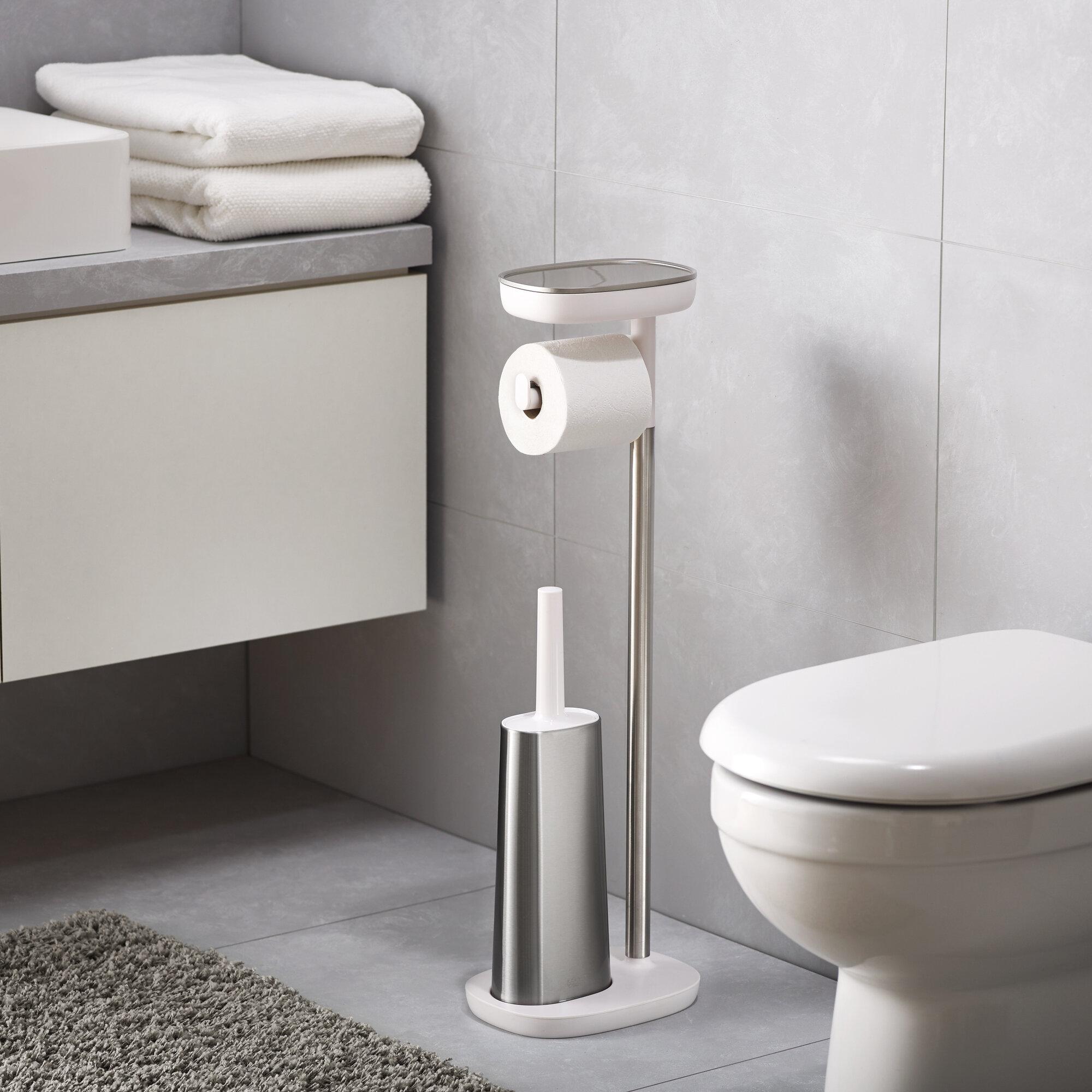 Chrome Toilette Butler-papier Porte-rouleau autoportante salle de bain rangement
