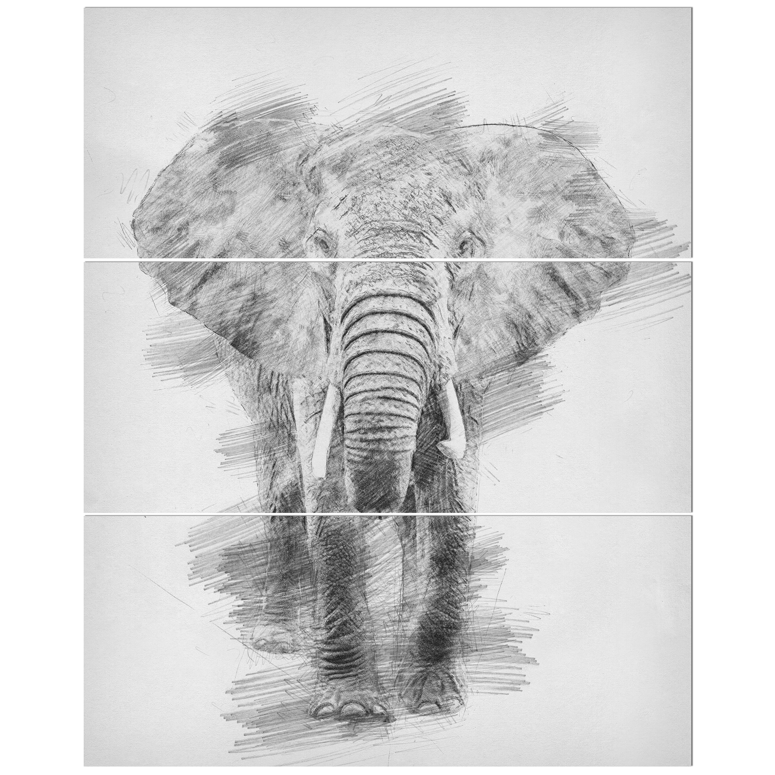 East urban home black and white elephant pencil sketch drawing print multi piece image on wrapped canvas wayfair ca