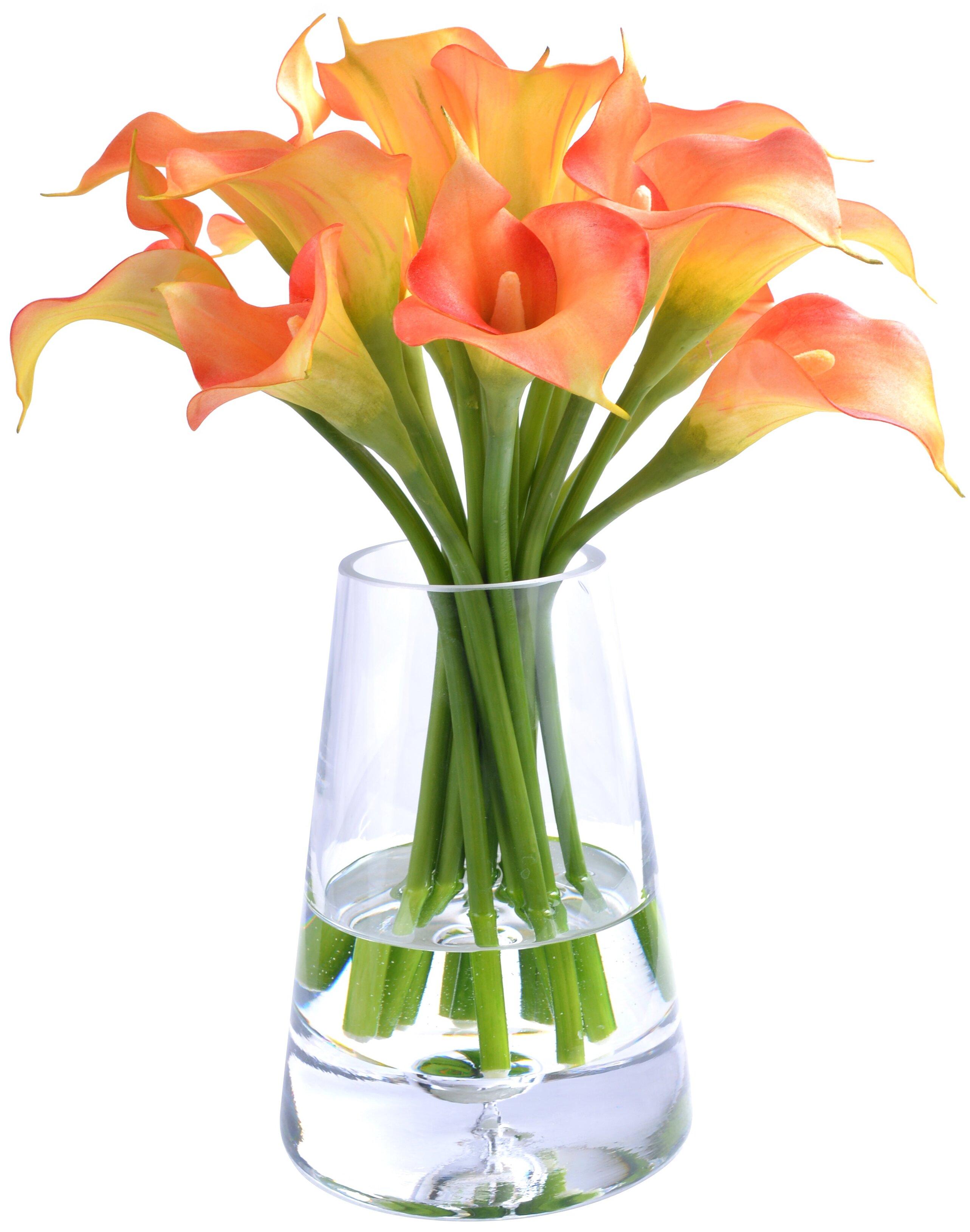 House Of Hampton Calla Lily Floral Arrangements In Glass Wayfair