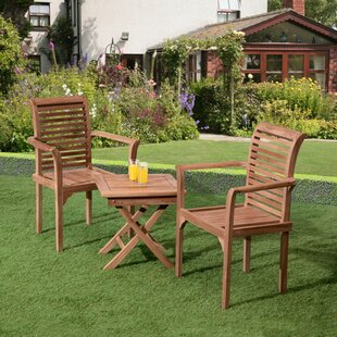 Loon Peak Reagle 3 Piece Teak Bistro Set