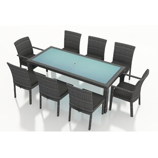 Hobbs 9 Piece Sunbrella Dining Set with Cushions by Rosecliff Heights