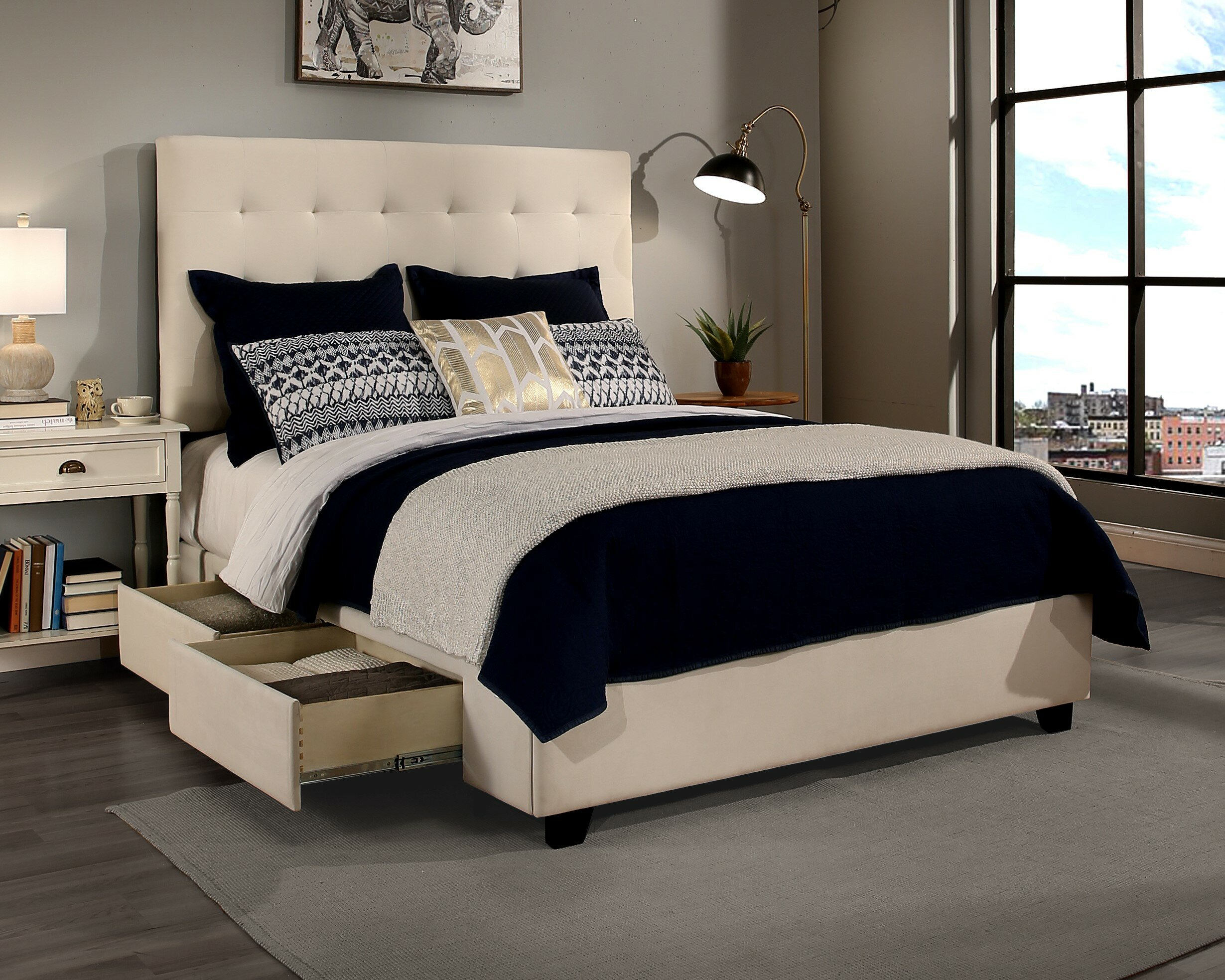 Fantastic Almendarez 2 Drawer Upholstered Storage Platform Bed With Bench Set Queen Size Ivory Colour Pdpeps Interior Chair Design Pdpepsorg