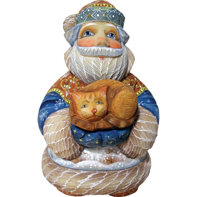 The Holiday Aisle Hand Crafted Purrfect Pair Santa Statue Derevo Collection Wayfair