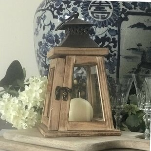 Candle Wood Lantern by Rosecliff Heights