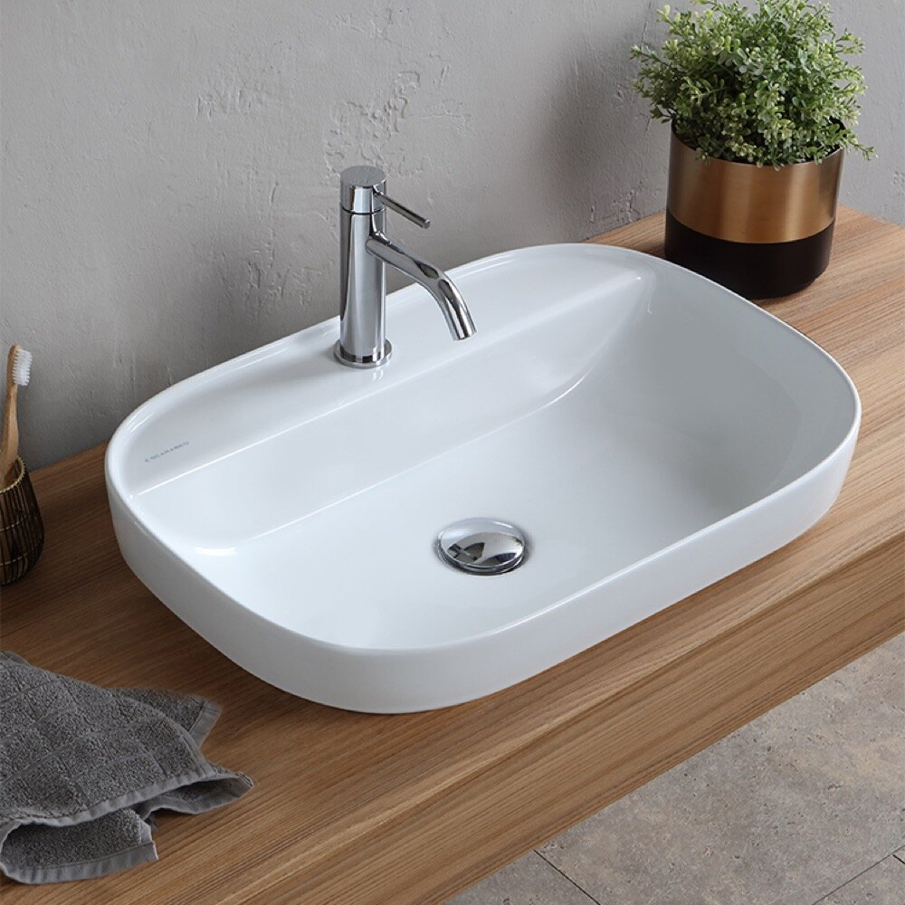 Oval Ceramic Drop In Bathroom Sink with Overflow