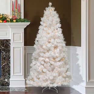 Slim 7 5 White Artificial Christmas Tree With 500 Clear Lights