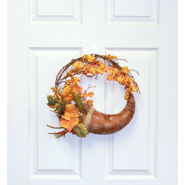 The Holiday Aisle Fall Long Grasses Berries Pumpkins And Leaves 18 Polyester Wreath Reviews Wayfair