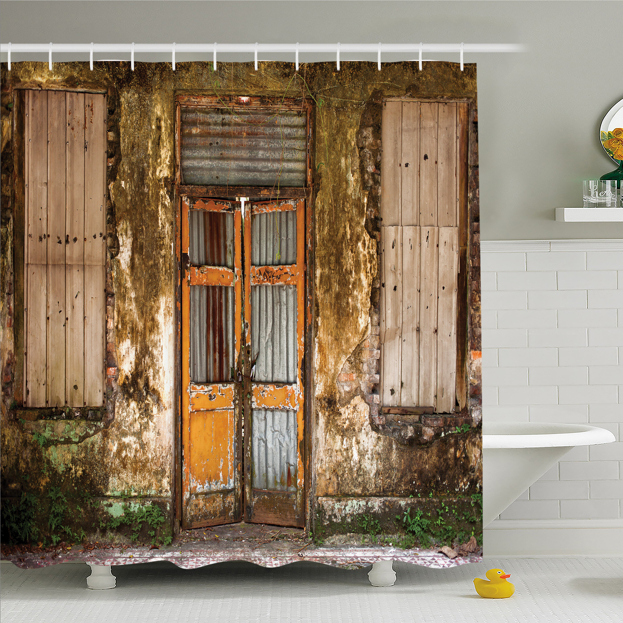 Rustic Home Damaged Shabby House With Boarded Up Rusty Doors And Mould Windows Home Decor Shower Curtain Set