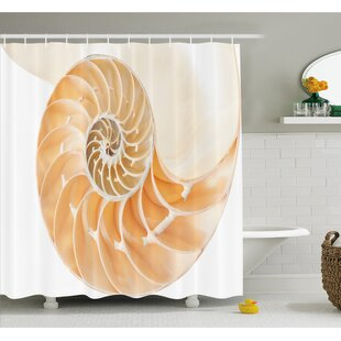 Nautilus Shell Showing the Chambers in Distance Curves Helix Hidden Print Shower Curtain Set