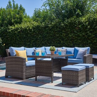 Lisbeth 5 Piece Rattan Sectional Seating Group with Cushions
