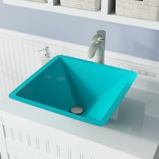 Reviews Glass Square Vessel Bathroom Sink with Faucet By MR Direct