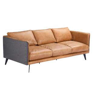Kelsie Genuine Leather Sofa by 17 Stories #1