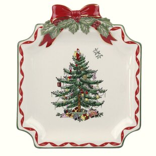 christmas tree ribbon dessert plate