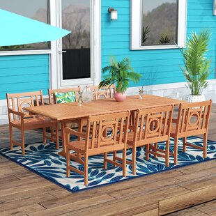 Beachcrest Home Monterry Extendable 7 Piece Eucalyptus Wood Dining Set