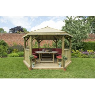 Review Furnished 4.3m X 3.7m Wooden Gazebo With Timber Roof