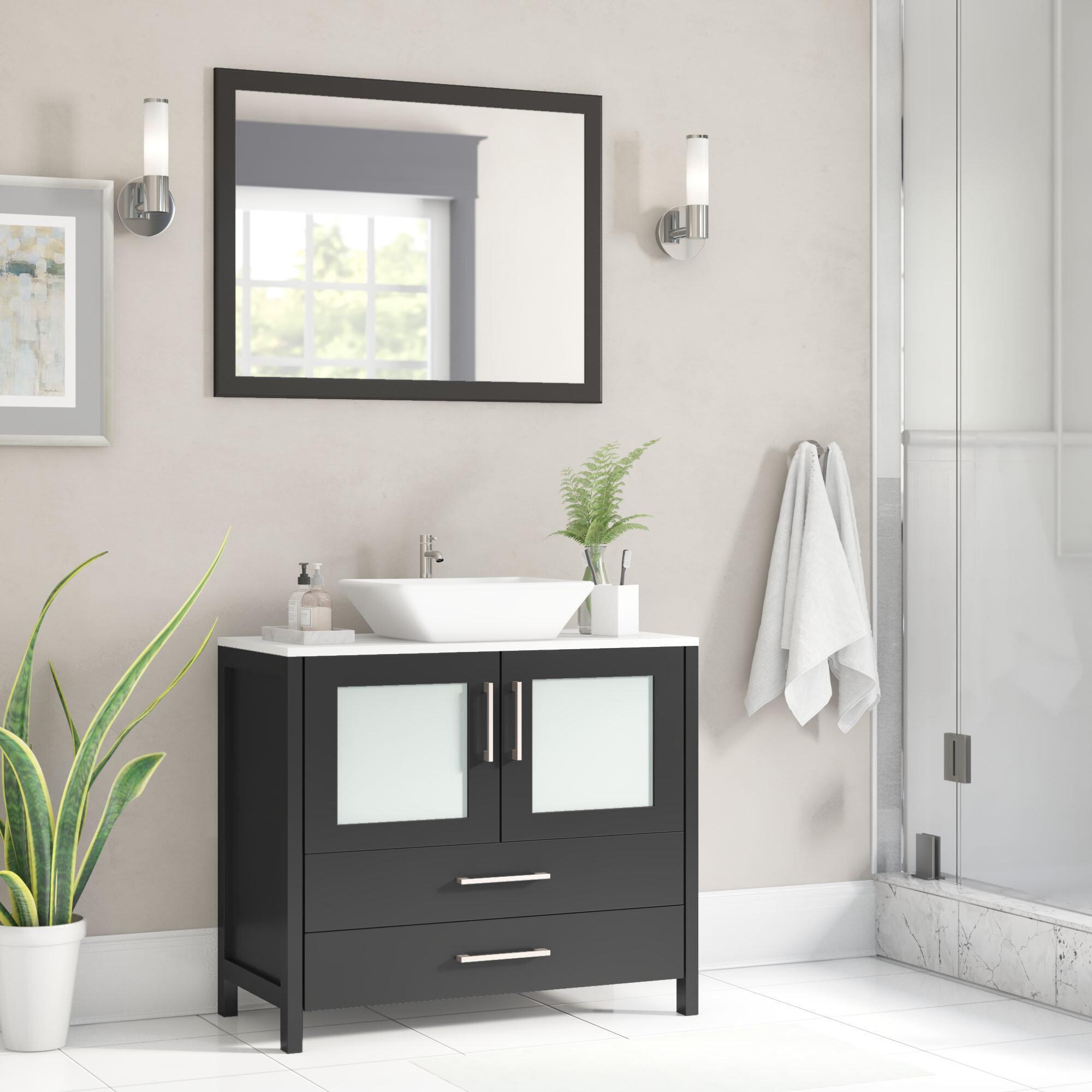 Wade Logan Karson 36 Single Bathroom Vanity Set With Mirror Reviews Wayfair
