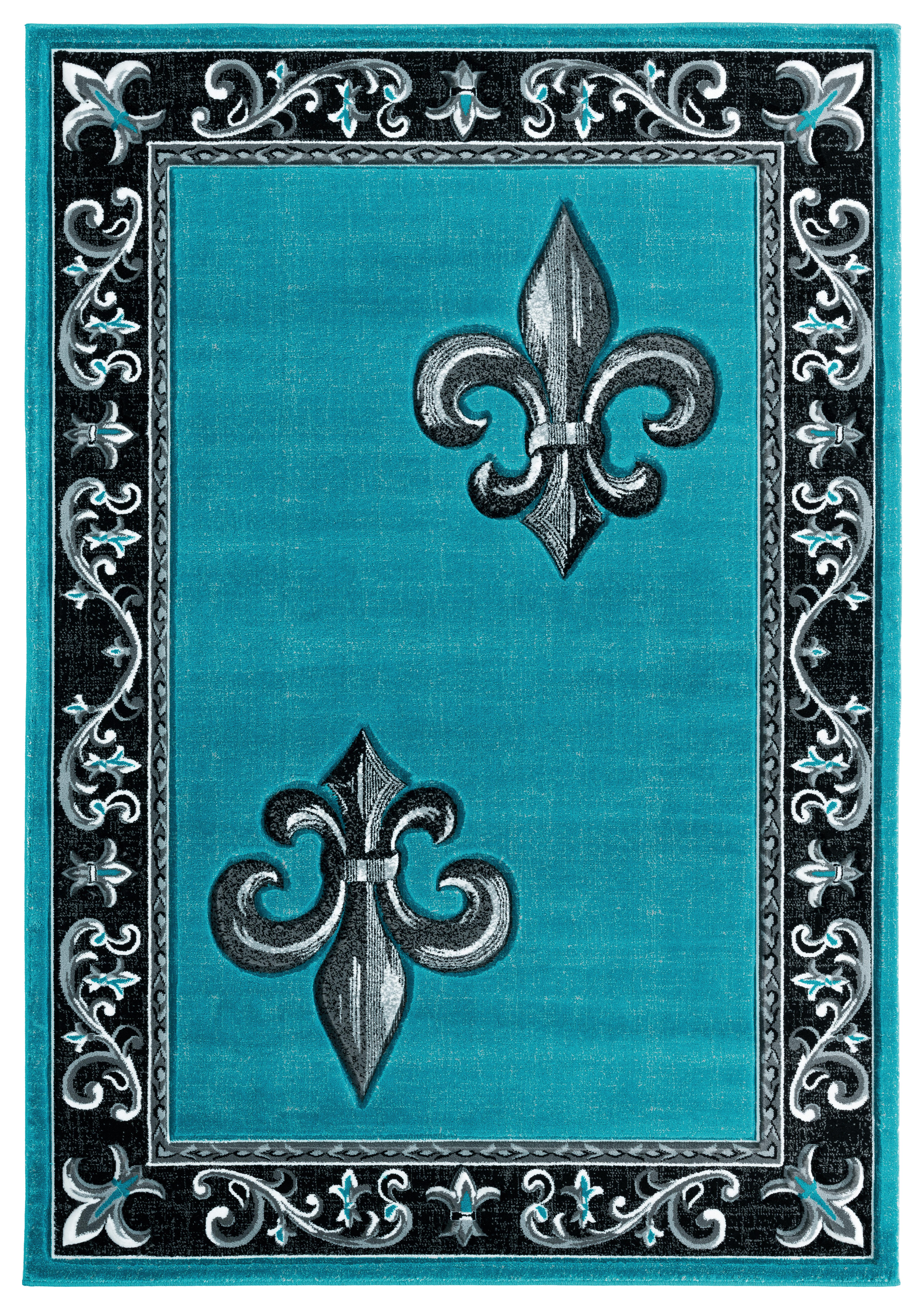 Fleur De Lis Living Goines Turquoise Black Gray Area Rug Wayfair