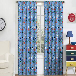Lou-Ann Graphic Print & Text Blackout Thermal Rod Pocket Single Curtain Panel
