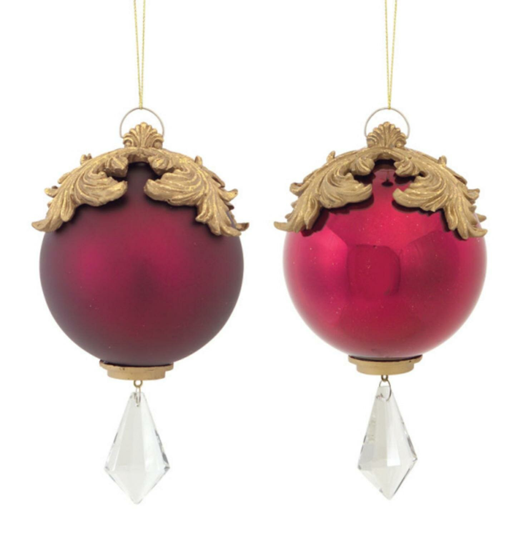 the holiday aisle 6 5 raised acanthus leaf with jewel dangle christmas ball ornament wayfair wayfair