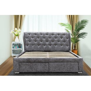 Salvador Crush Velvet 4 Drawer Winged Headboard By EUBalticPine