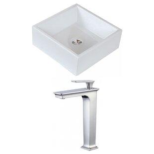 Best Deals Ceramic Square Vessel Bathroom Sink with Faucet ByRoyal Purple Bath Kitchen