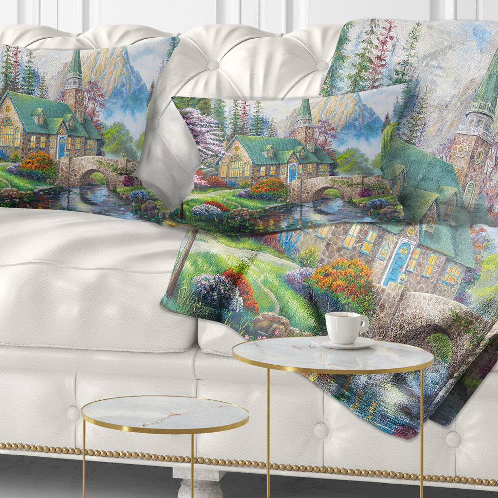 East Urban Home Landscape Church In Forest Oil Painting Lumbar Pillow Wayfair