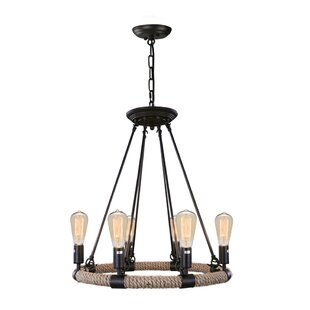 Industrial 6-Light Wagon Wheel Chandelier..