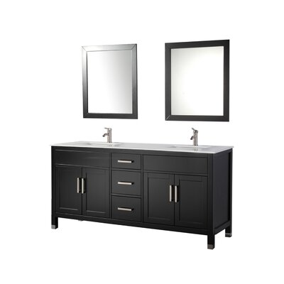 Brayden Studio Denault 84 Double Sink Bathroom Vanity Set Base Finish: Espresso