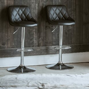 Amani Adjustable Height Swivel Bar Stool (Set of 2) Orren Ellis