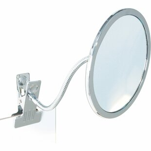 Reviews Cowger Clamp Round Makeup/Shaving Mirror By Ebern Designs
