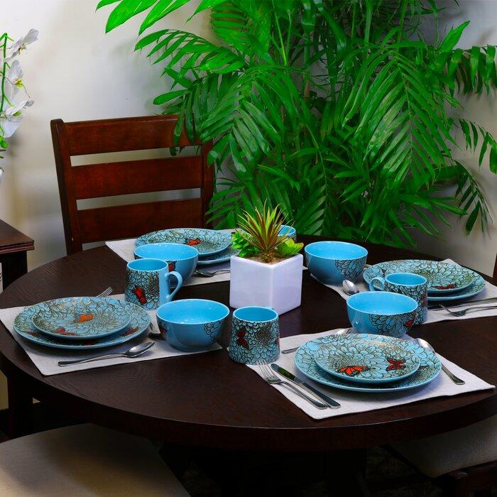 Winston Porter Service De Table Pour 16 Personnes Jardin Des