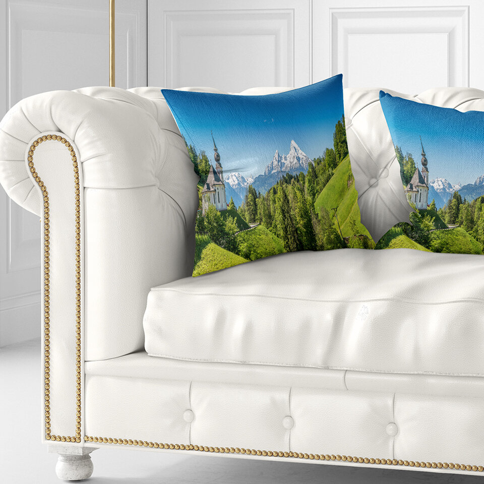 East Urban Home Printed Mountain View Of Bavarian Alps Pillow Wayfair