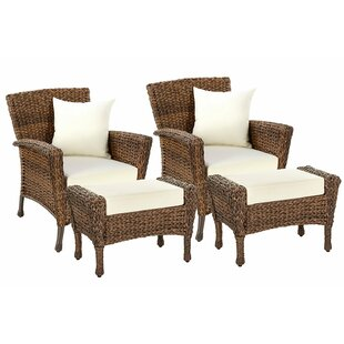 Rundell Garden Patio Chair with Cushions and Ottoman
