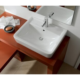 Compare Renova Ceramic Rectangular Vessel Bathroom Sink with Overflow By Bissonnet