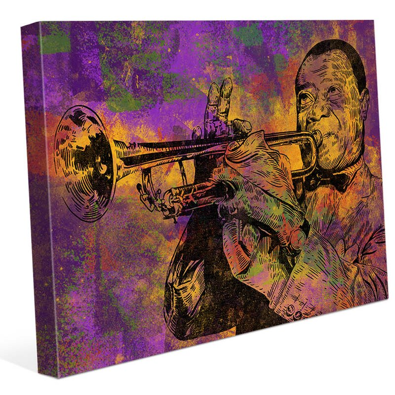 'Mardi Gras Trumpet' Graphic Art on Wrapped Canvas