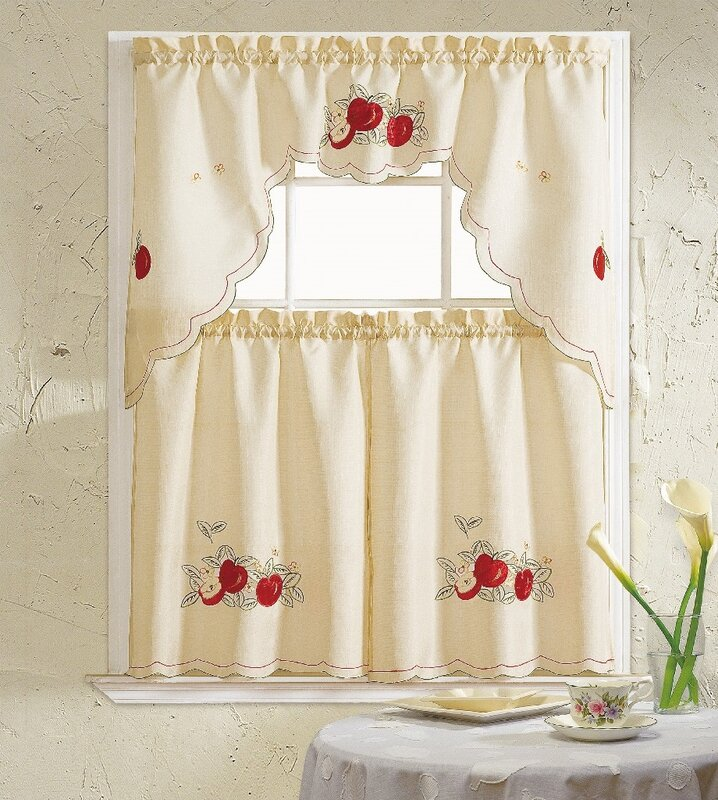 Apples 3 Piece Kitchen Curtain Set